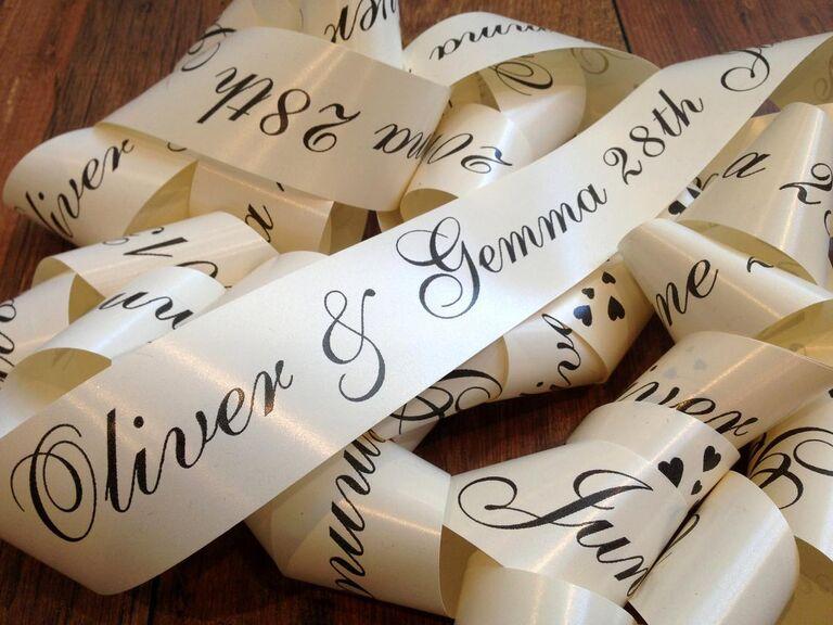 Personalized ribbon wedding car decoration