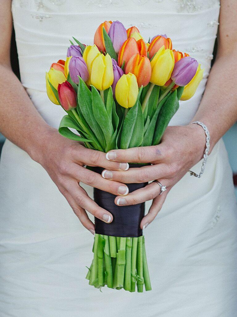 Multi-colored ttulip wedding bouquet ideas