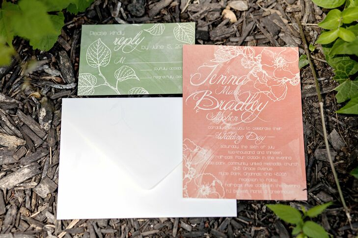The couple set the tone for their casual outdoor wedding with garden stationery from Twenty Something Studios.