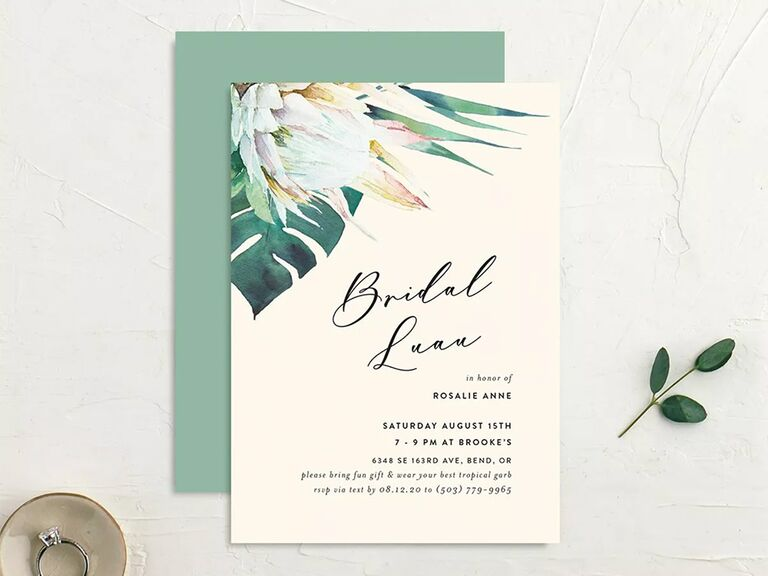 Tropical leaf and florals in upper left corner and 'Bridal Luau' in calligraphy type