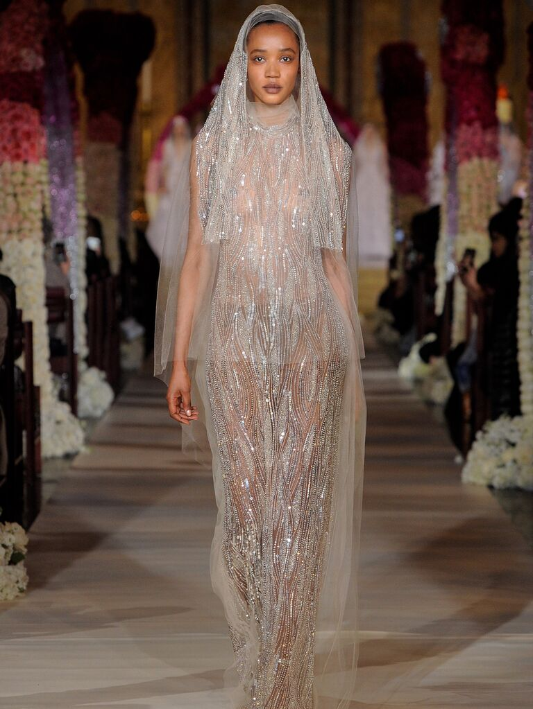 Reem Acra Spring 2020 Bridal Collection beaded off-white wedding dress