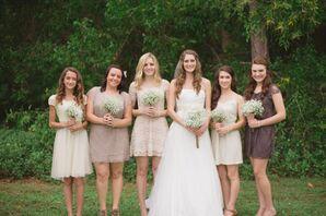 Short Earth Tone Lace Bridesmaid Dresses