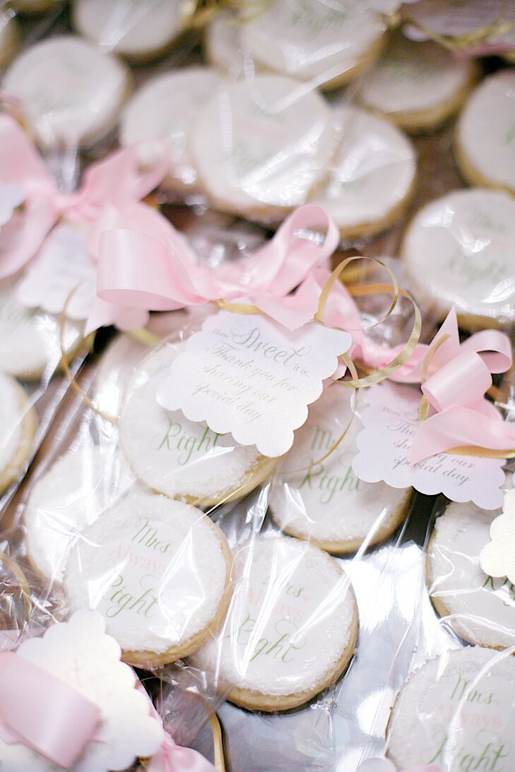 """Guests went home with little bags filled with Mr. Right and Mrs. Always Right sugar cookies. They were adorned with little tags that said, """"How sweet it is—thank you for sharing our special day."""""""