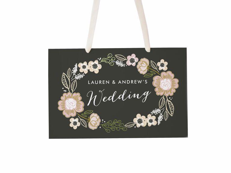 Floral chalkboard wedding welcome sign