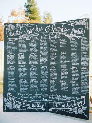 Handwritten Chalkboard Seating Map