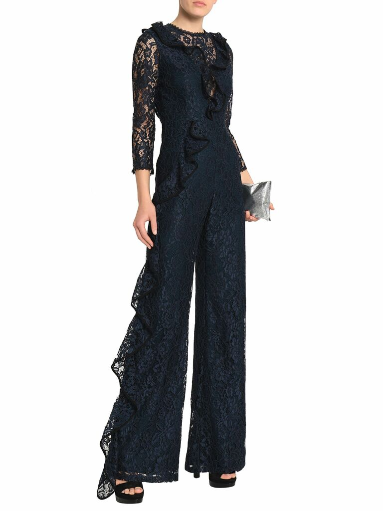ruffle trimmed jumpsuit