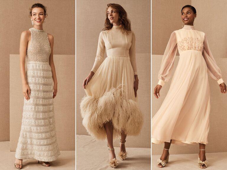 Vintage beaded sheath wedding dress; Long sleeve silk vintage wedding dress with feathered hemline; Long sleeve chiffon dress with swirled sequin design