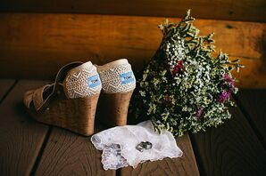 TOMS Bridal Wedges and Natural Green Bouquet