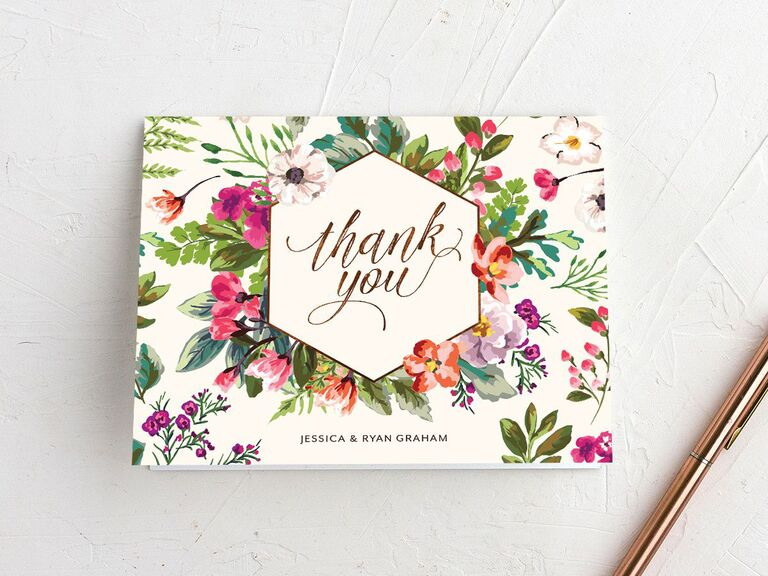 Bright floral thank-you card with couple's names
