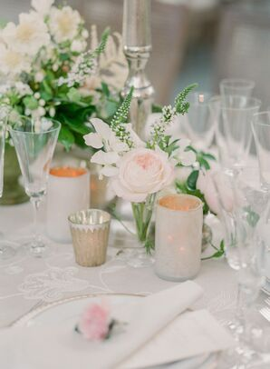 Classic Wedding Centerpieces with Pink Roses