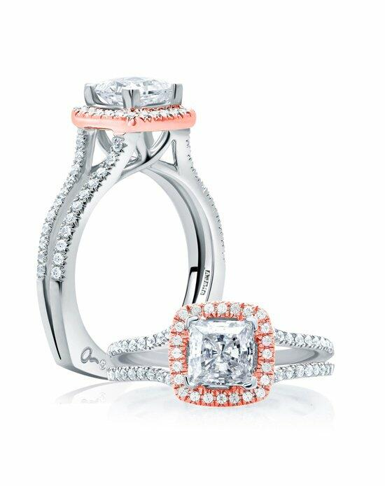 A.JAFFE Center of My Universe™ Princess Cut Rose Gold Diamond Halo Engagement Ring, MES632 Engagement Ring photo