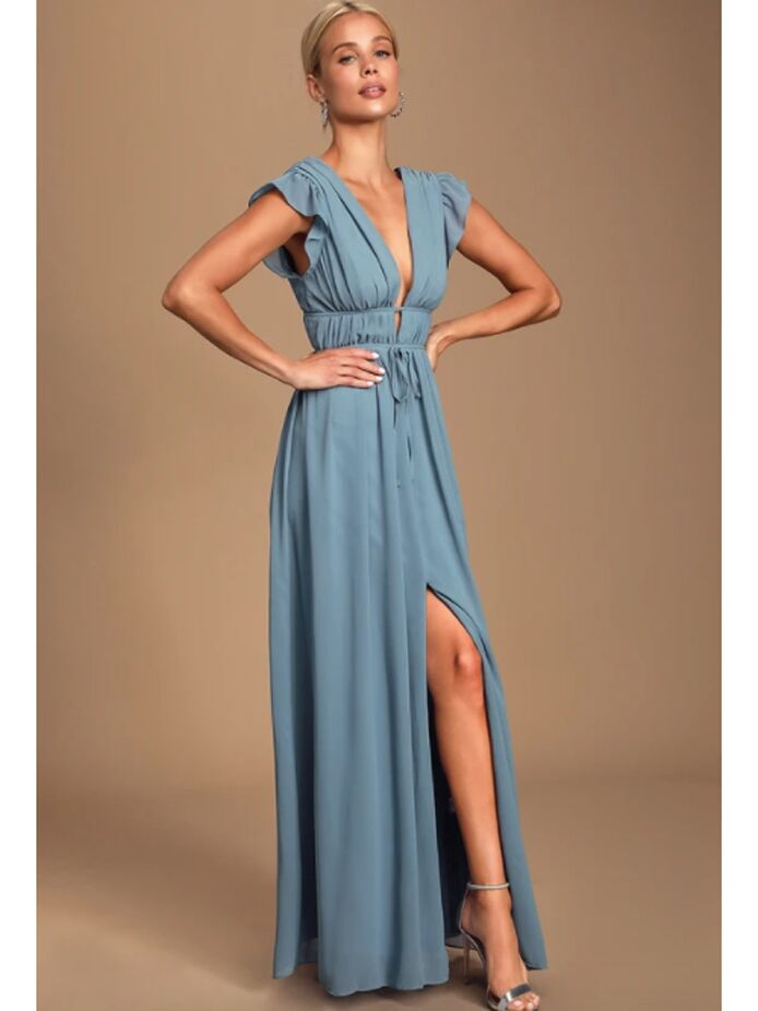 Light blue maxi dress with ruffle sleeves and plunging neckline