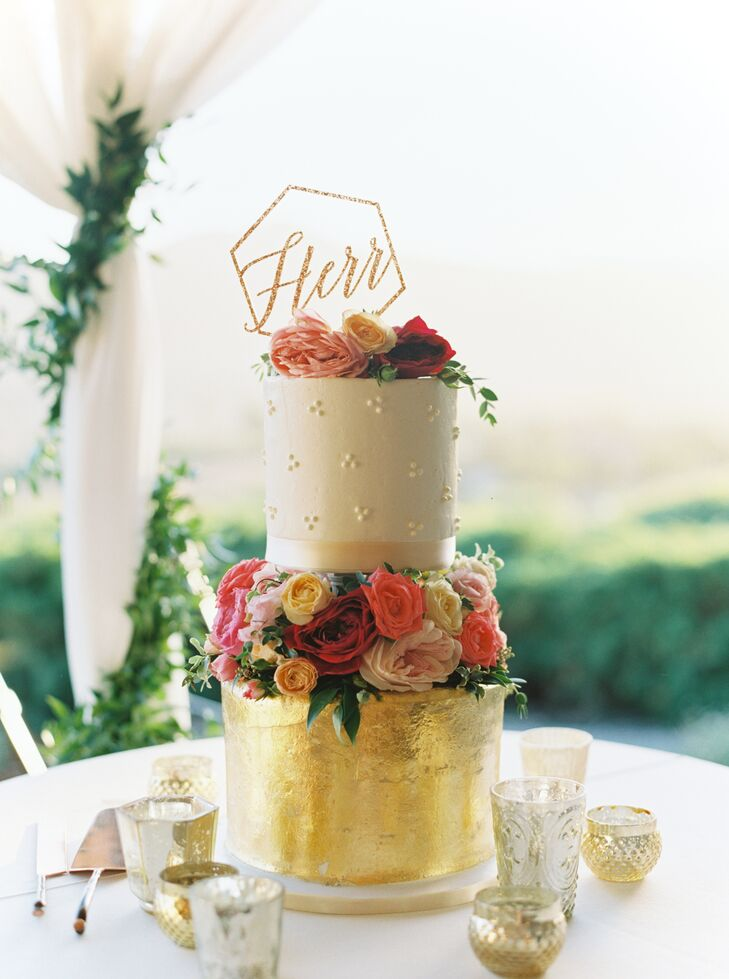 Colorful Wedding Cake with Gold Foil, Flowers and Topper