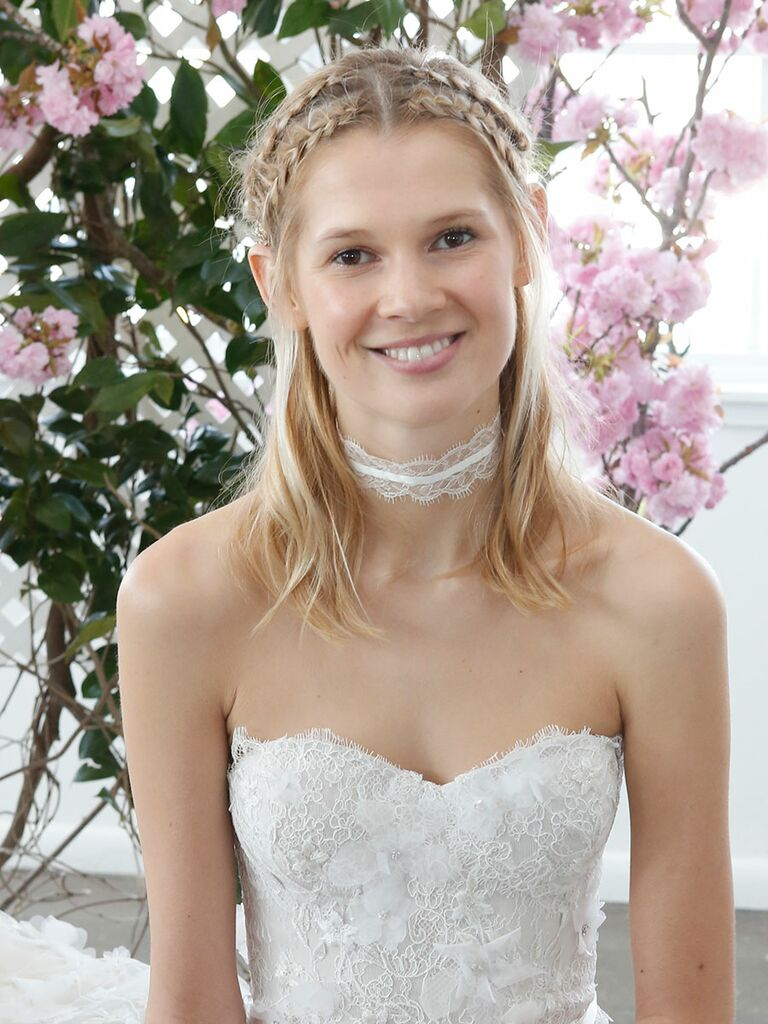 Half-up wedding hairstyle with Dutch braids for short hair