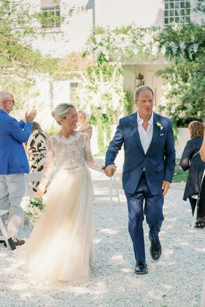 Bride and Groom Recessional During At-Home Microwedding in Cape Cod, Massachusetts