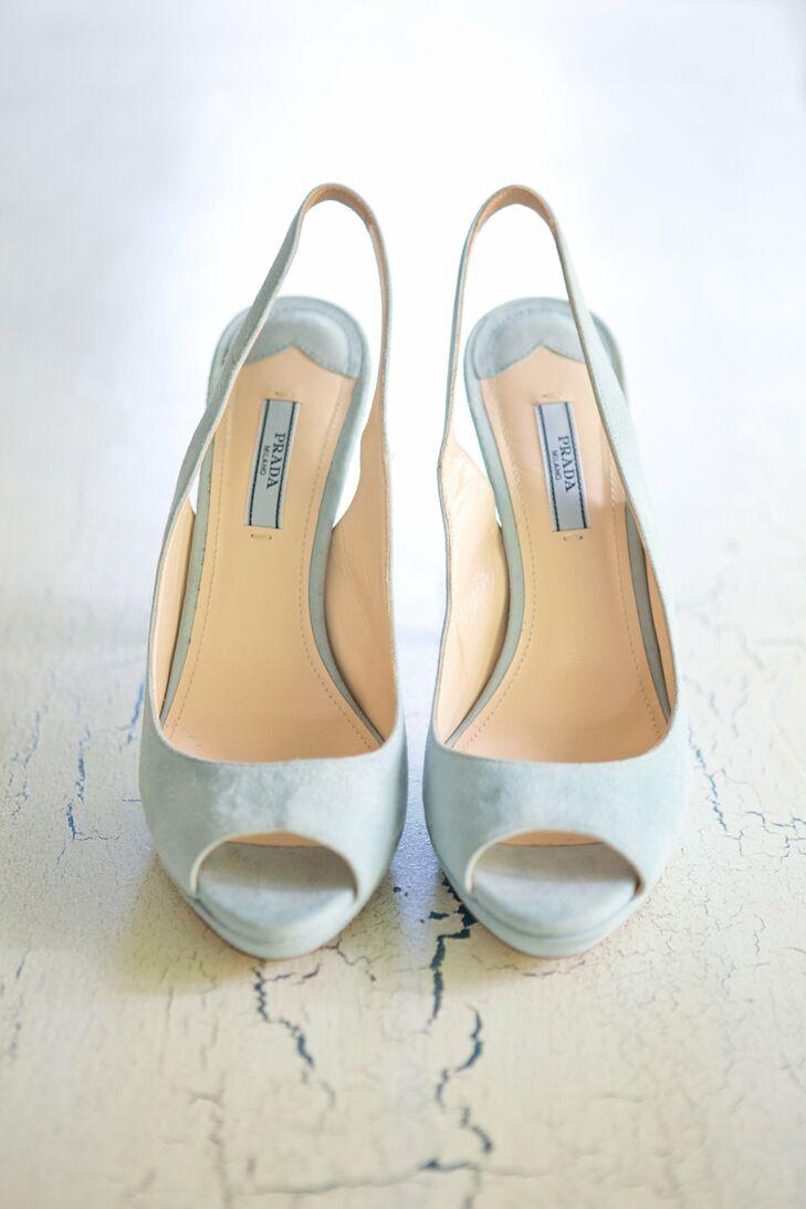 The bride wore light blue Prada slingbacks with a peep-toe.