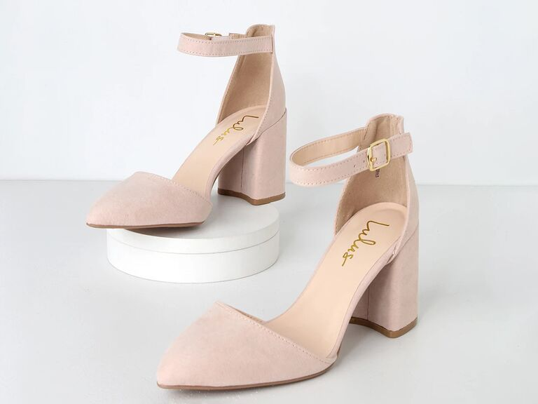 lulus nude mother of the groom pointed toe shoes with ankle straps