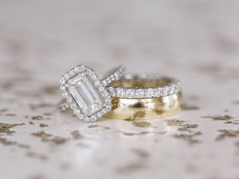 Emerald cut engagement ring and gold wedding band