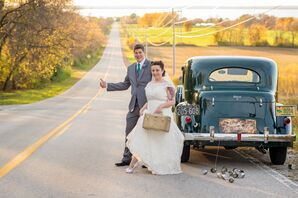 Vintage Bride and Groom with 1930s Packard Transportation