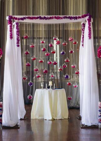 Hanging glass globe wedding decor: Kate McElwee Photography / TheKnot.com