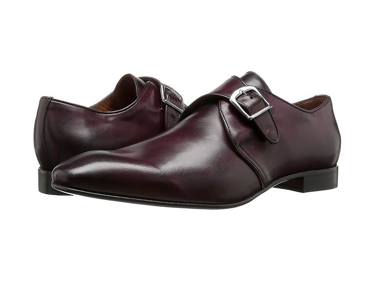 Massimo Matteo Single Monk in Burgundy charcoal suit brown shoes