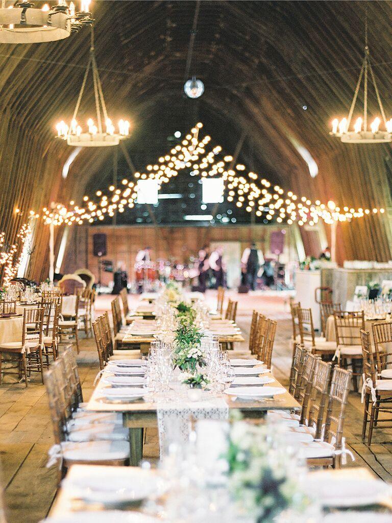 Creative string light ideas for a romantic wedding reception