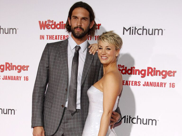 Kaley Cuoco-Sweeting and Ryan Sweeting pose together at an event