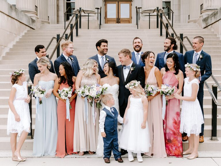 the couple with their wedding party