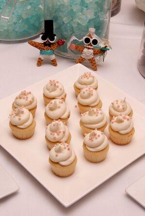 Cupcake Dessert Display With Whimsical Starfish