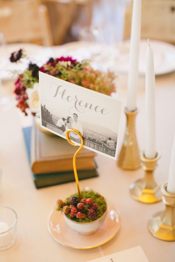 Wanting to share their love of wine and travel with their friends and family through their decor, details that spoke to each were incorporated throughout the day. Instead of traditional table numbers, Nicki and Jordan named each table after a place they had traveled to together and accompanied each with a photo from the corresponding trip.