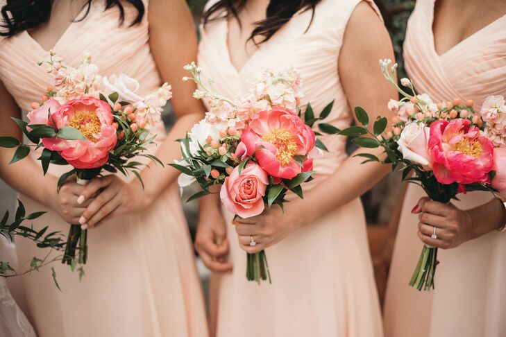 Coral Charm Peony Bouquets at Planterra Conservatory in Detroit, Michigan, Wedding