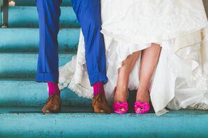 Hot Pink Peep-Toe Bridal Pumps