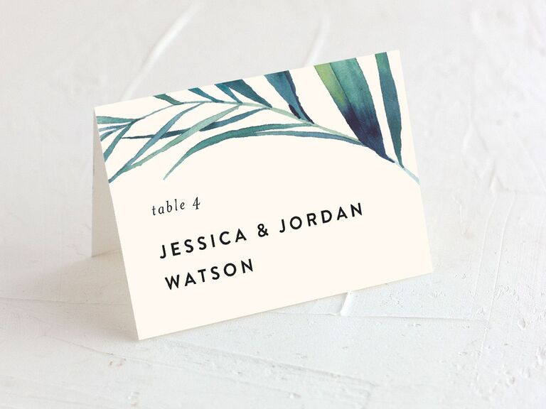 wedding place cards tropical theme