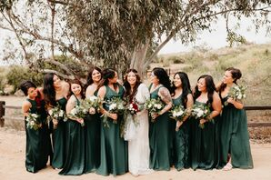 Bridesmaids with Long Green Dresses and Bohemian Bouquets
