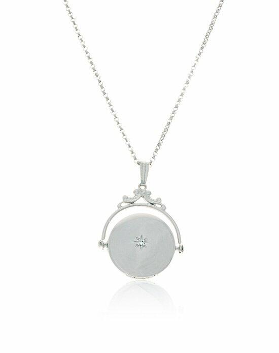 Thomas Laine Silver Spin Round Diamond Locket Wedding Necklaces photo